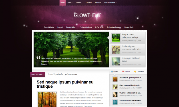 WordPress Šablona Glow