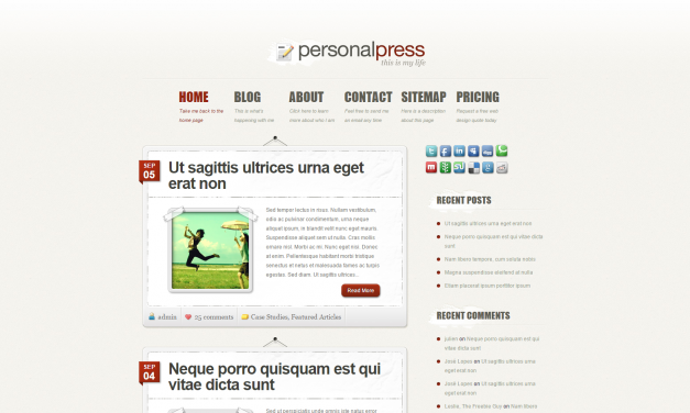 WordPress Šablona PersonalPress