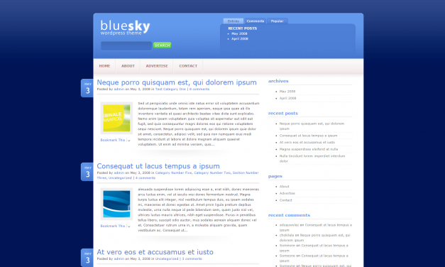 WordPress Šablona BlueSky