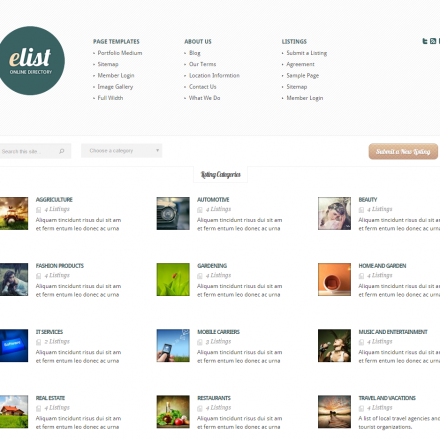 WordPress Šablona eList